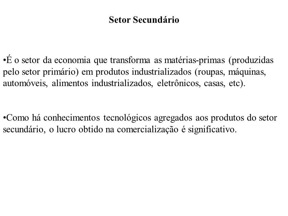 Setor Secundário É o setor da economia que transforma as matérias-primas (produzidas pelo setor primário) em produtos industrializados (roupas, máquin