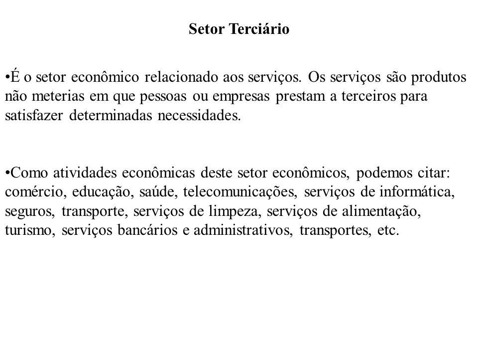 Setor Terciário É o setor econômico relacionado aos serviços. Os serviços são produtos não meterias em que pessoas ou empresas prestam a terceiros par