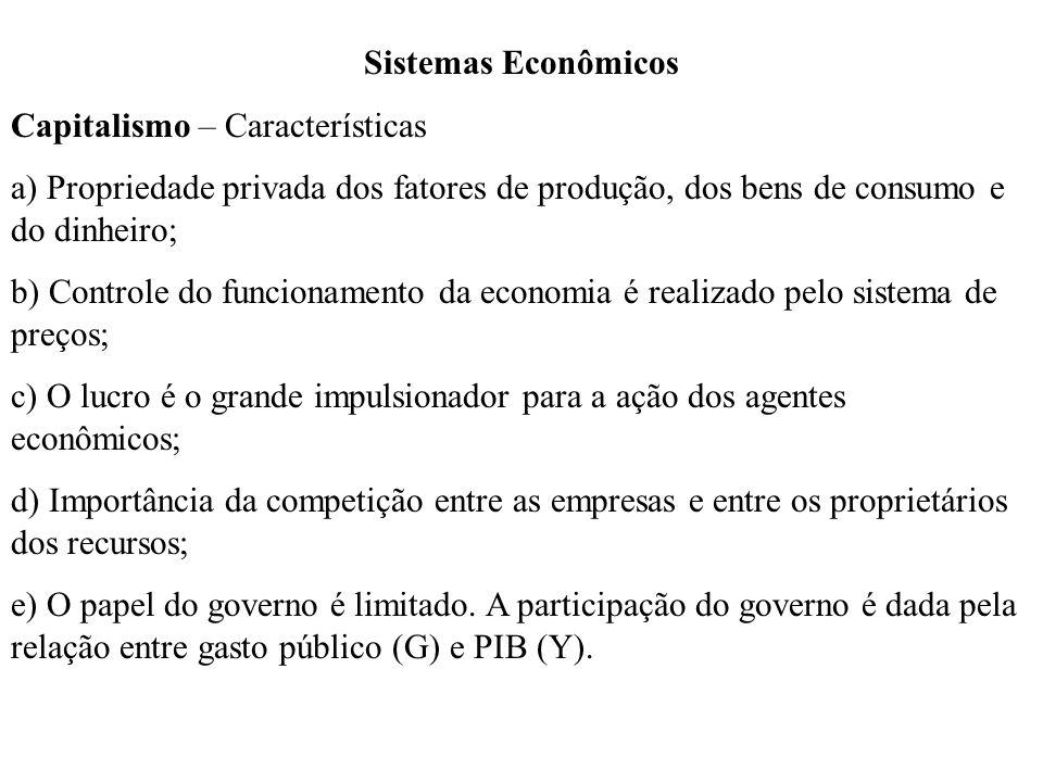 Sistemas Econômicos Capitalismo – Características a) Propriedade privada dos fatores de produção, dos bens de consumo e do dinheiro; b) Controle do fu
