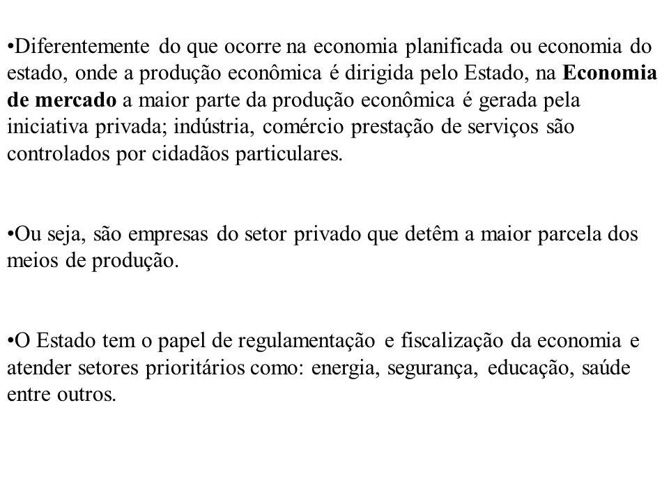 Diferentemente do que ocorre na economia planificada ou economia do estado, onde a produção econômica é dirigida pelo Estado, na Economia de mercado a