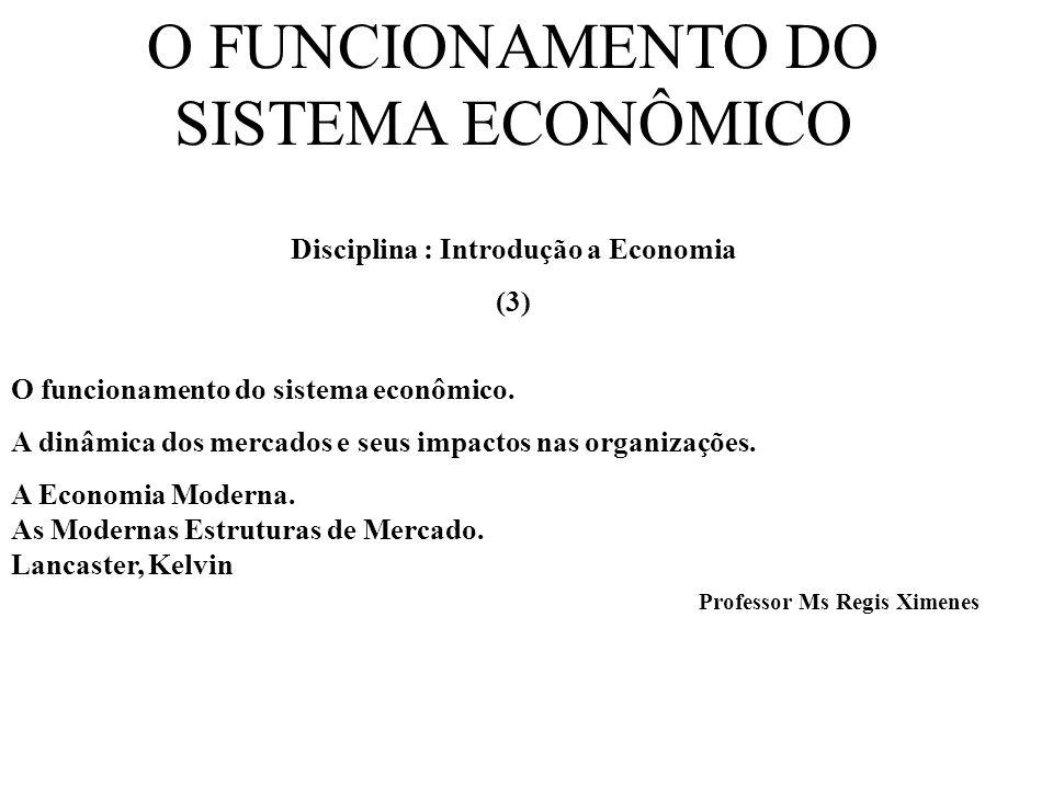 O FUNCIONAMENTO DO SISTEMA ECONÔMICO Disciplina : Introdução a Economia (3) O funcionamento do sistema econômico. A dinâmica dos mercados e seus impac