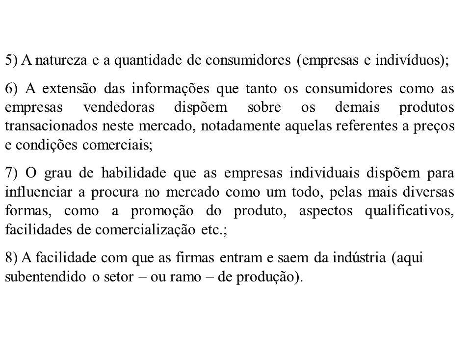5) A natureza e a quantidade de consumidores (empresas e indivíduos); 6) A extensão das informações que tanto os consumidores como as empresas vendedo
