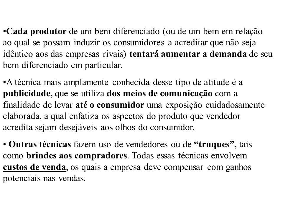 Cada produtor de um bem diferenciado (ou de um bem em relação ao qual se possam induzir os consumidores a acreditar que não seja idêntico aos das empr