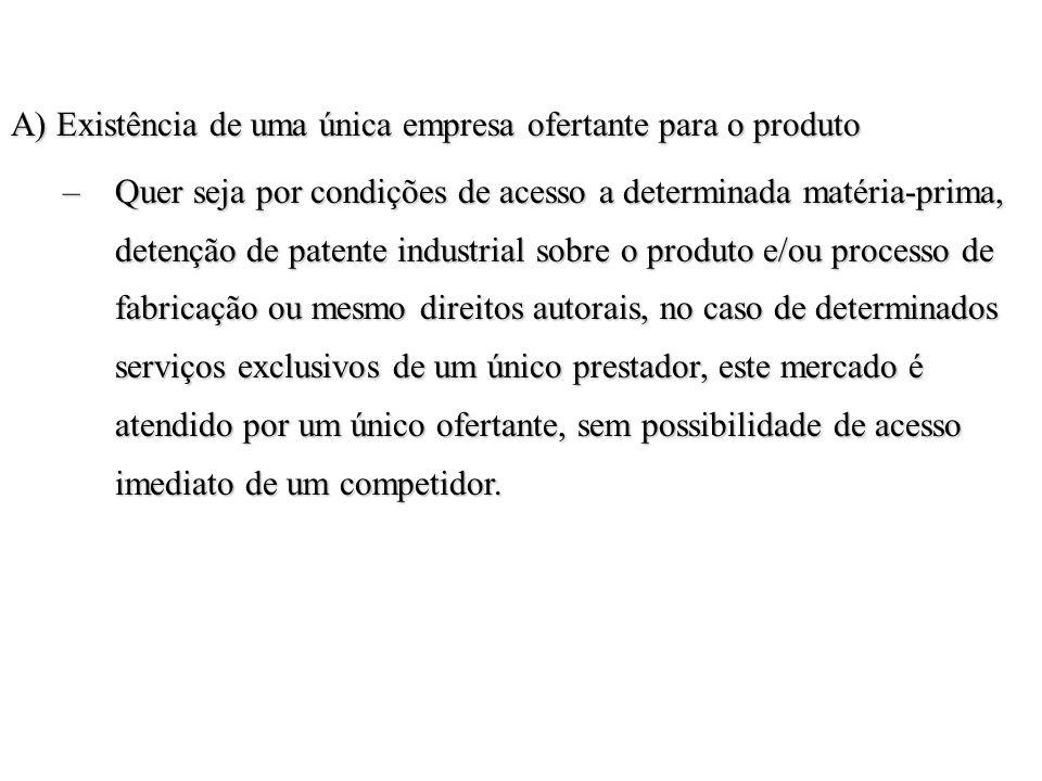 A) Existência de uma única empresa ofertante para o produto –Quer seja por condições de acesso a determinada matéria-prima, detenção de patente indust