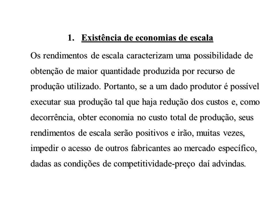 1.Existência de economias de escala Os rendimentos de escala caracterizam uma possibilidade de obtenção de maior quantidade produzida por recurso de p