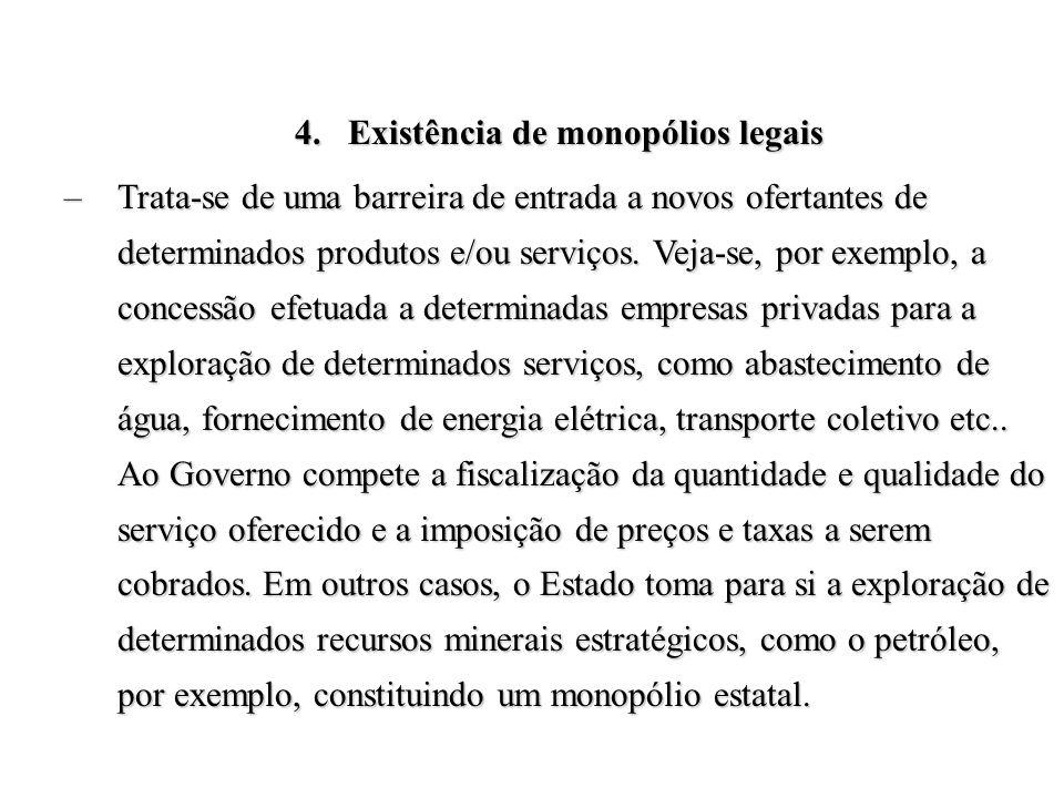 4.Existência de monopólios legais –Trata-se de uma barreira de entrada a novos ofertantes de determinados produtos e/ou serviços. Veja-se, por exemplo