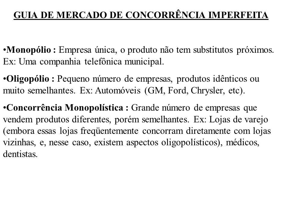 GUIA DE MERCADO DE CONCORRÊNCIA IMPERFEITA Monopólio : Empresa única, o produto não tem substitutos próximos. Ex: Uma companhia telefônica municipal.