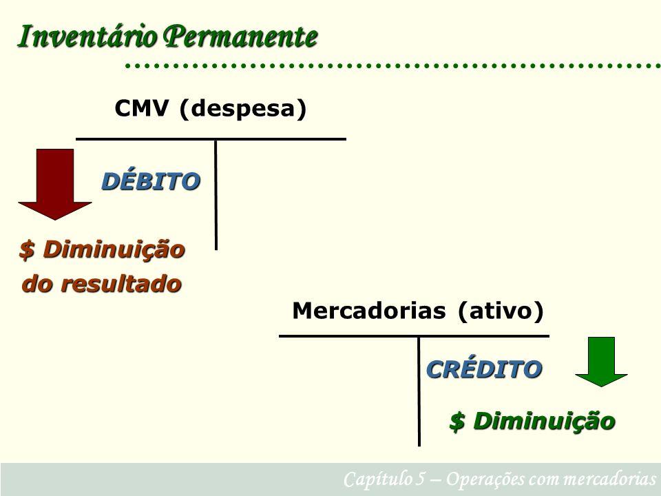 Capítulo 5 – Operações com mercadorias Inventário Permanente DÉBITO CMV (despesa) CRÉDITO Mercadorias (ativo) $ Diminuição $ Diminuição do resultado