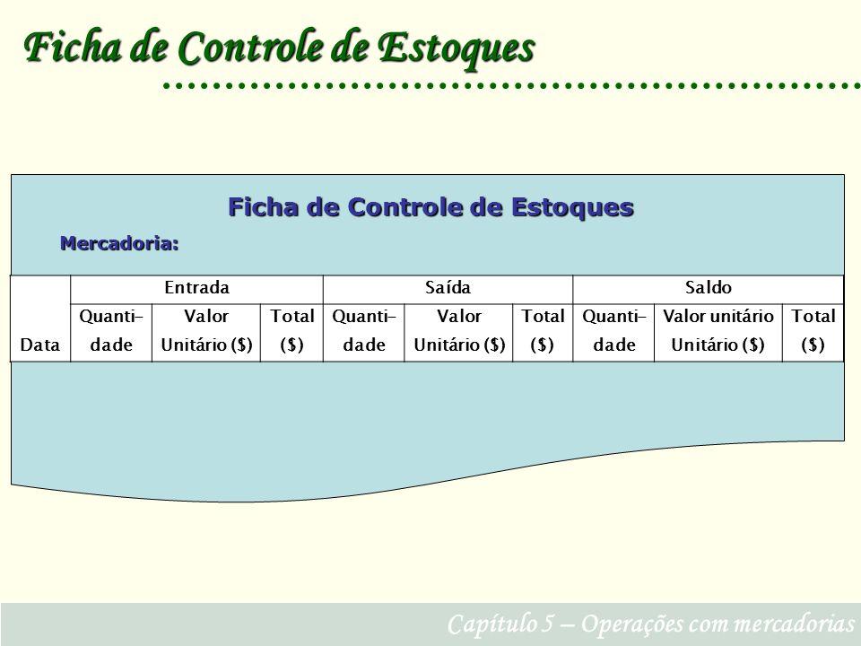 Capítulo 5 – Operações com mercadorias Ficha de Controle de Estoques Data EntradaSaídaSaldo Quanti-ValorTotalQuanti-ValorTotalQuanti-Valor unitárioTotal dadeUnitário ($)($)dadeUnitário ($)($)dadeUnitário ($)($) Ficha de Controle de Estoques Mercadoria: