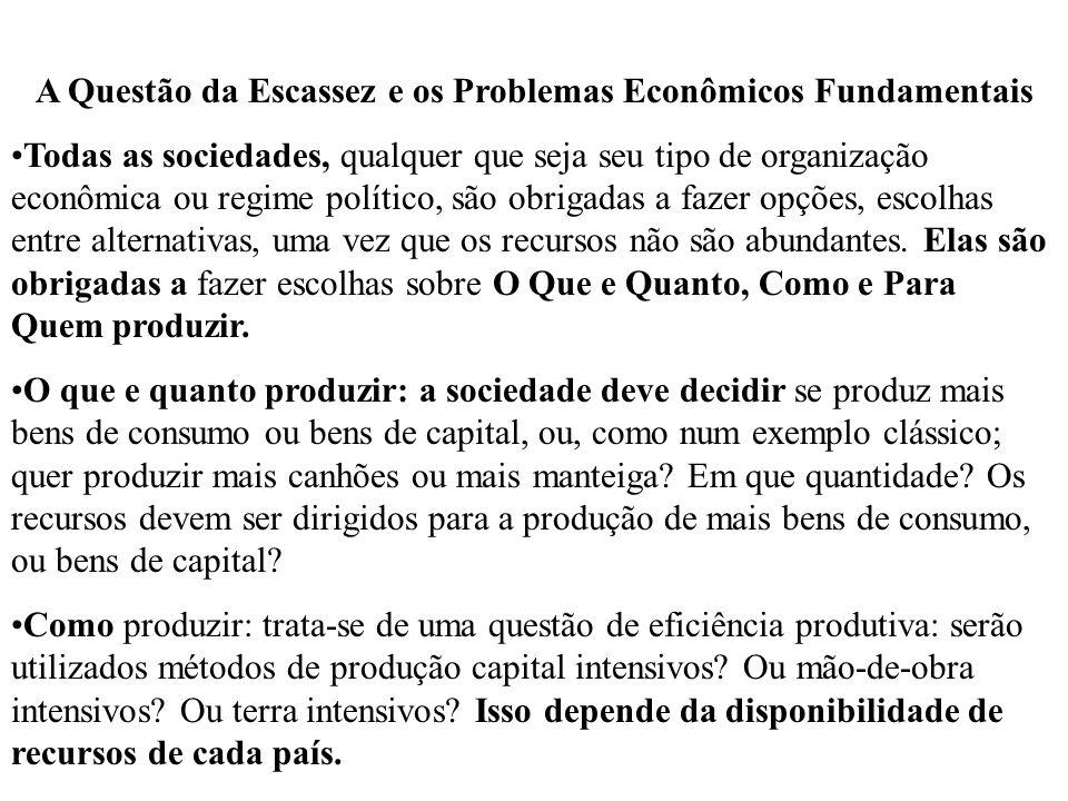 Para quem produzir: A sociedade deve decidir quais os setores que serão beneficiados na distribuição do produto: trabalhadores, capitalistas ou proprietários da terra.