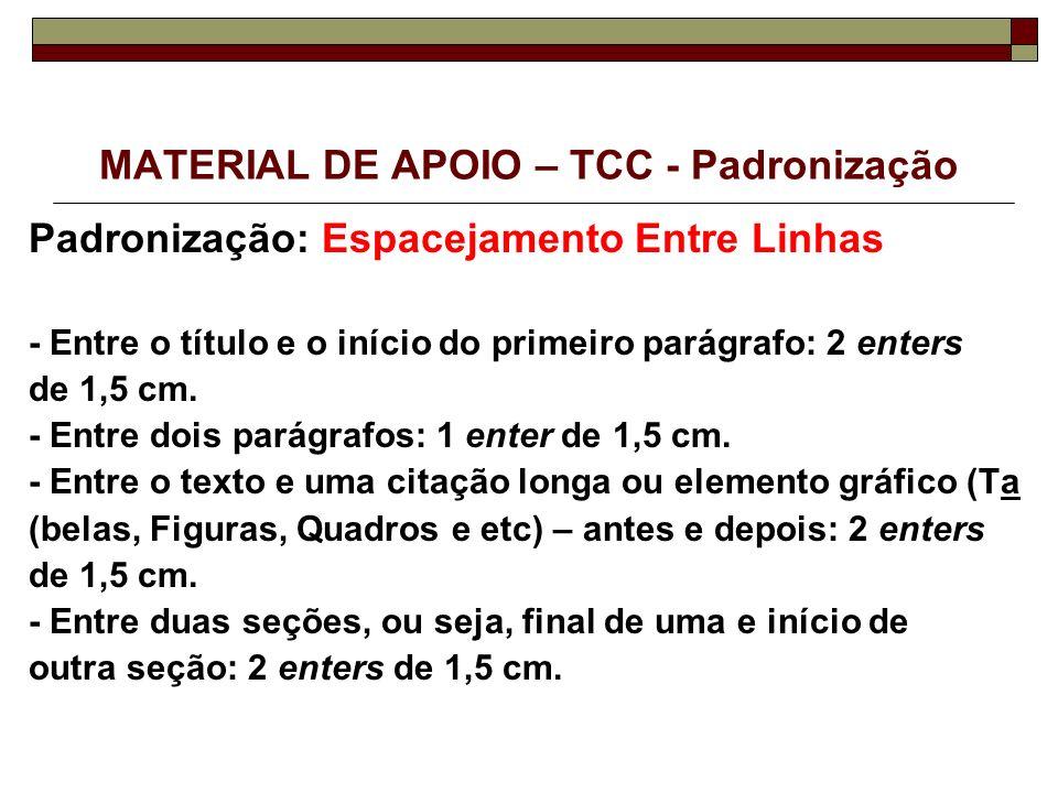MATERIAL DE APOIO – TCC - Padronização Padronização: Espacejamento Entre Linhas - Entre o título e o início do primeiro parágrafo: 2 enters de 1,5 cm.