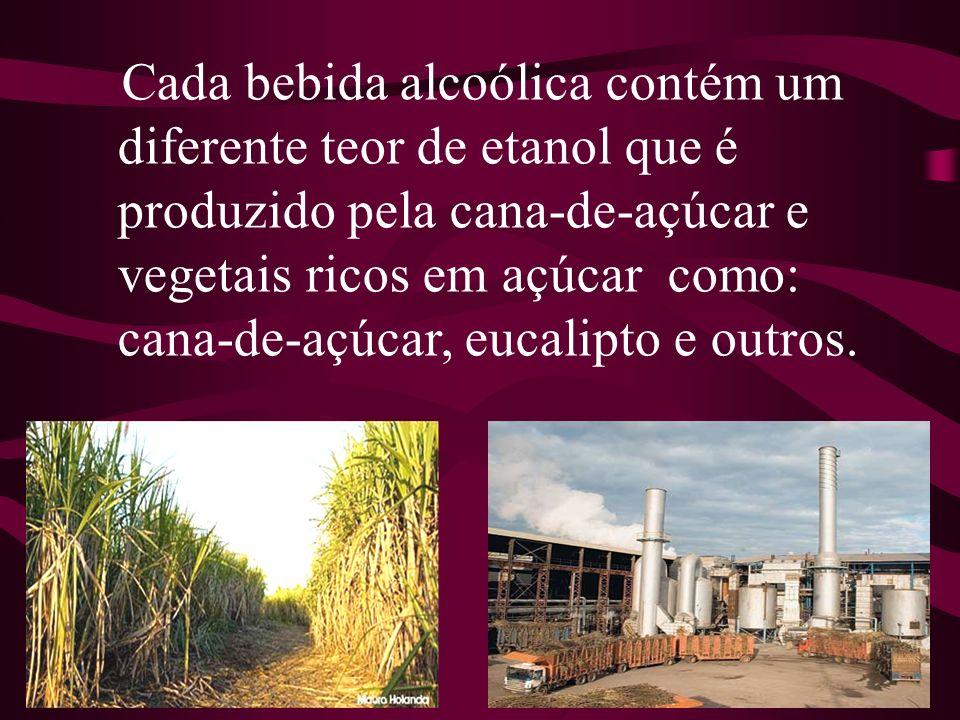 Cada bebida alcoólica contém um diferente teor de etanol que é produzido pela cana-de-açúcar e vegetais ricos em açúcar como: cana-de-açúcar, eucalipt