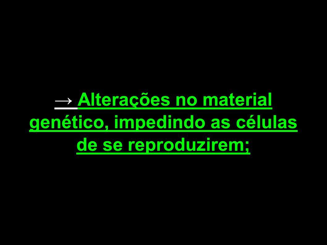 Alterações no material genético, impedindo as células de se reproduzirem;