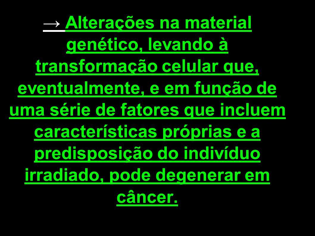 Alterações na material genético, levando à transformação celular que, eventualmente, e em função de uma série de fatores que incluem características p