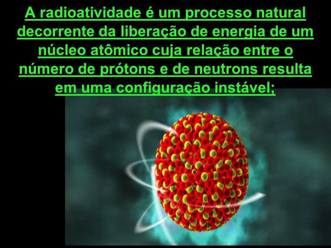 A radioatividade é um processo natural decorrente da liberação de energia de um núcleo atômico cuja relação entre o número de prótons e de neutrons re