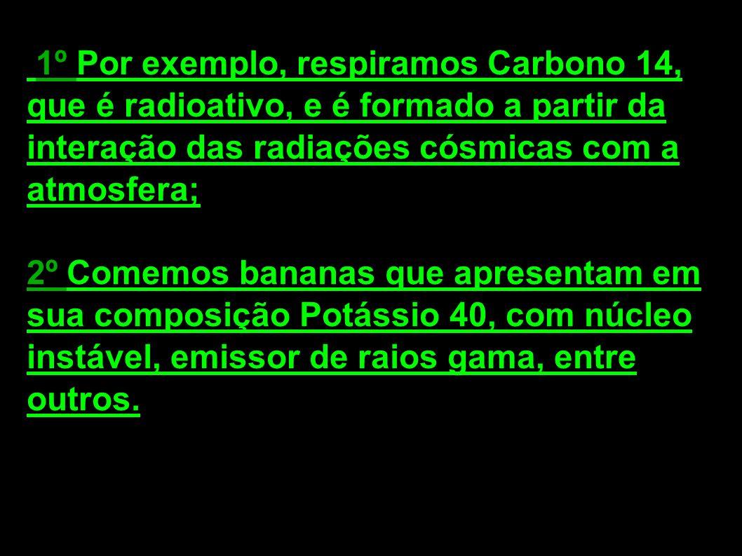 1º Por exemplo, respiramos Carbono 14, que é radioativo, e é formado a partir da interação das radiações cósmicas com a atmosfera; 2º Comemos bananas