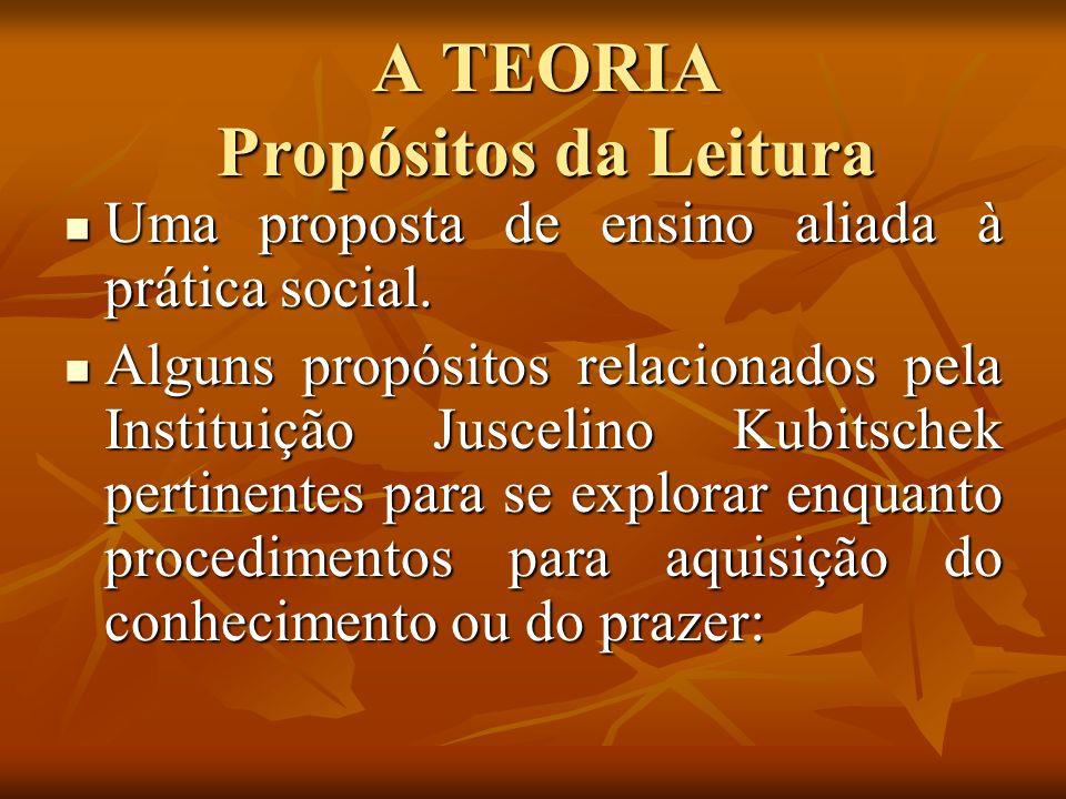 A TEORIA Propósitos da Leitura Uma proposta de ensino aliada à prática social. Uma proposta de ensino aliada à prática social. Alguns propósitos relac