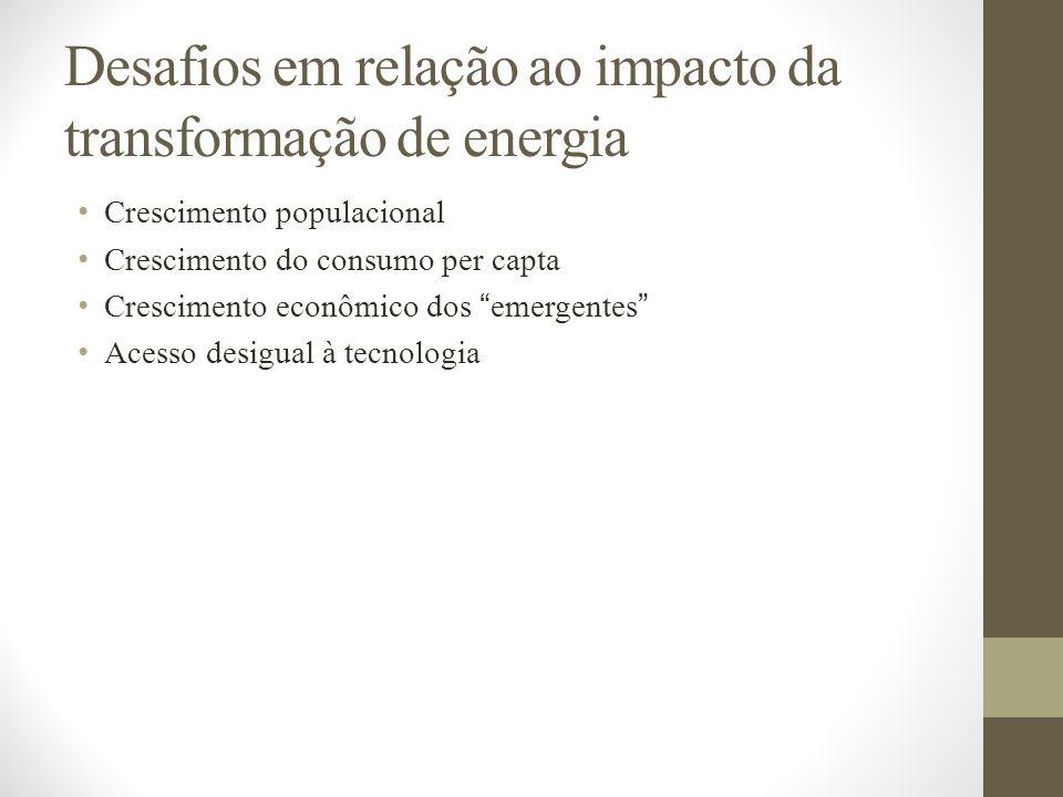 Desafios em relação ao impacto da transformação de energia Crescimento populacional Crescimento do consumo per capta Crescimento econômico dos emergen