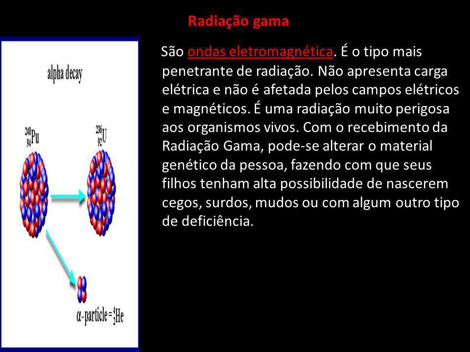 Radiação gama São ondas eletromagnética.É o tipo mais penetrante de radiação.