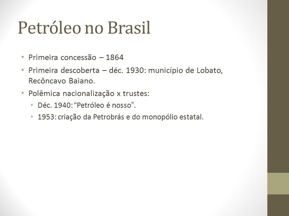 Petróleo no Brasil Primeira concessão – 1864 Primeira descoberta – déc.