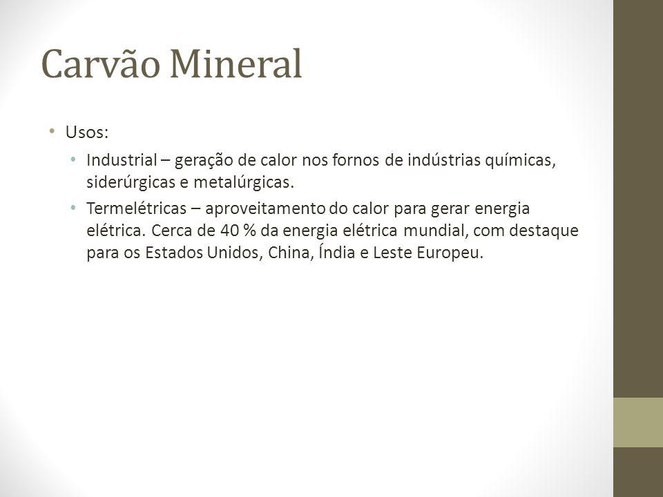 Carvão Mineral Usos: Industrial – geração de calor nos fornos de indústrias químicas, siderúrgicas e metalúrgicas.