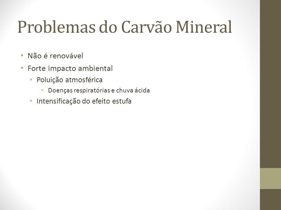 Problemas do Carvão Mineral Não é renovável Forte impacto ambiental Poluição atmosférica Doenças respiratórias e chuva ácida Intensificação do efeito estufa