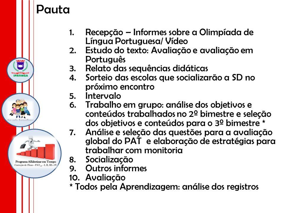 Pauta 1.Recepção – Informes sobre a Olimpíada de Língua Portuguesa/ Vídeo 2.Estudo do texto: Avaliação e avaliação em Português 3.Relato das sequência