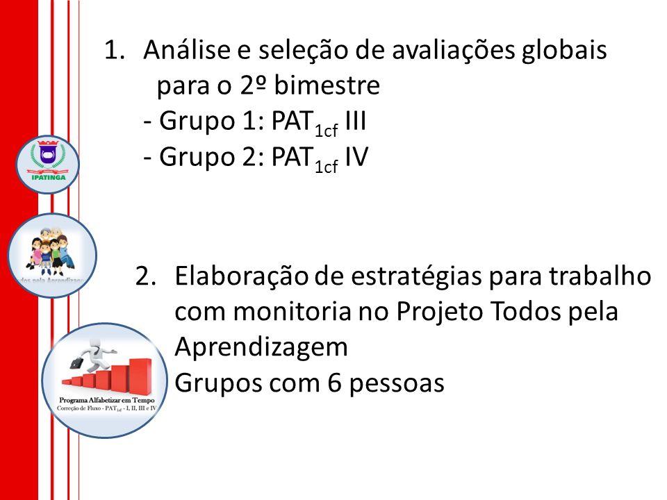 1.Análise e seleção de avaliações globais para o 2º bimestre - Grupo 1: PAT 1cf III - Grupo 2: PAT 1cf IV 2.Elaboração de estratégias para trabalho co