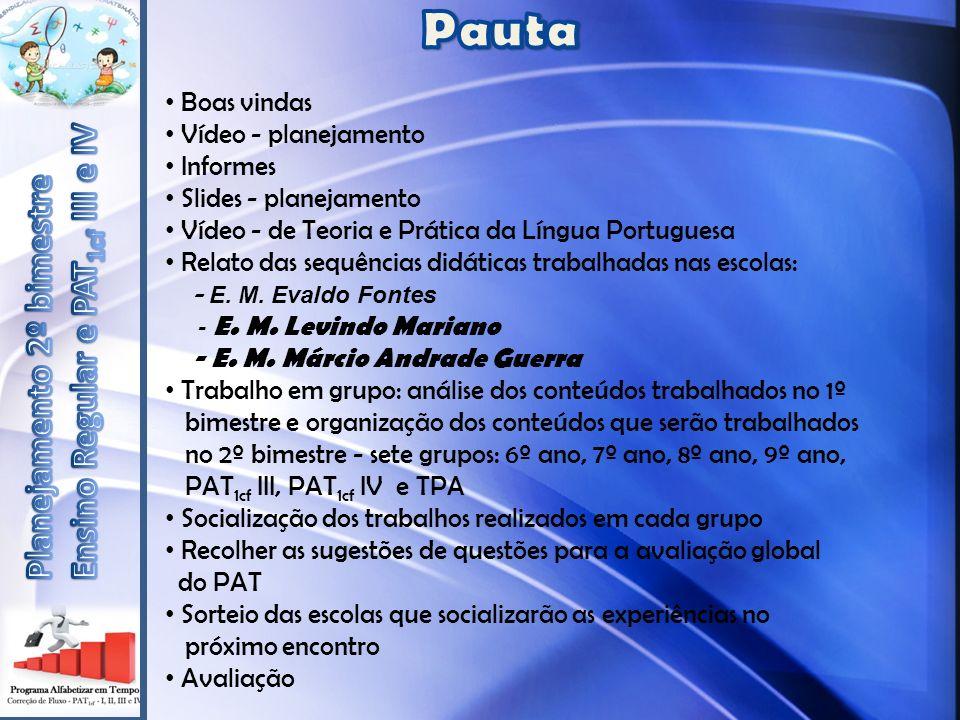 Boas vindas Vídeo - planejamento Informes Slides - planejamento Vídeo - de Teoria e Prática da Língua Portuguesa Relato das sequências didáticas trabalhadas nas escolas: - E.