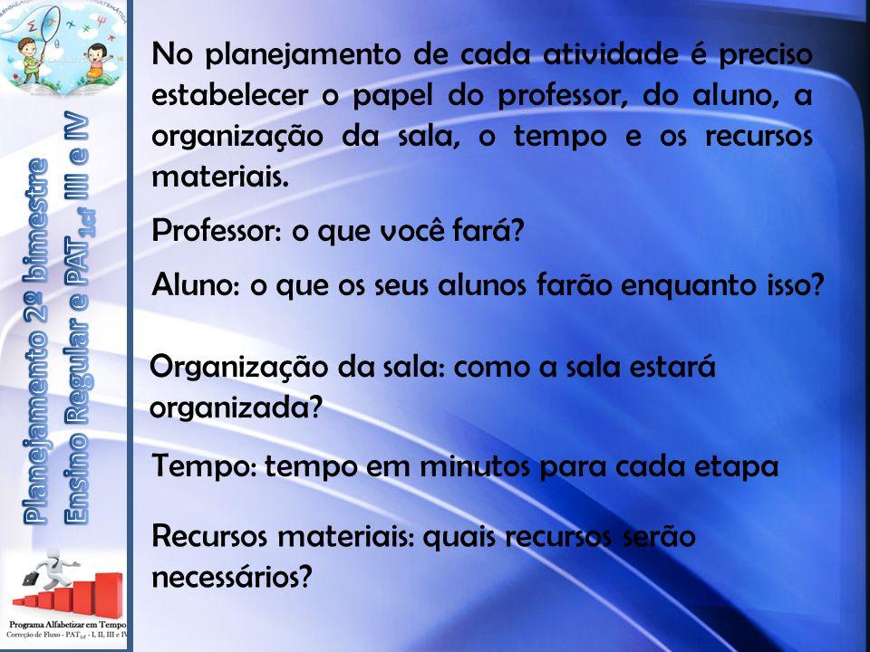 No planejamento de cada atividade é preciso estabelecer o papel do professor, do aluno, a organização da sala, o tempo e os recursos materiais. Profes