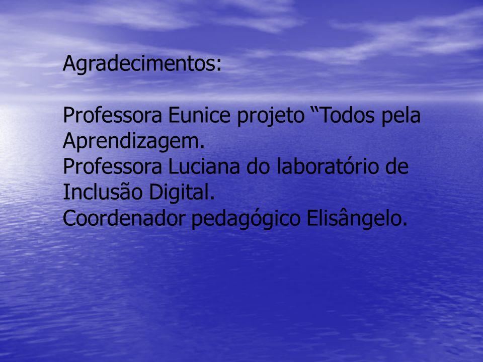 Agradecimentos: Professora Eunice projeto Todos pela Aprendizagem. Professora Luciana do laboratório de Inclusão Digital. Coordenador pedagógico Elisâ