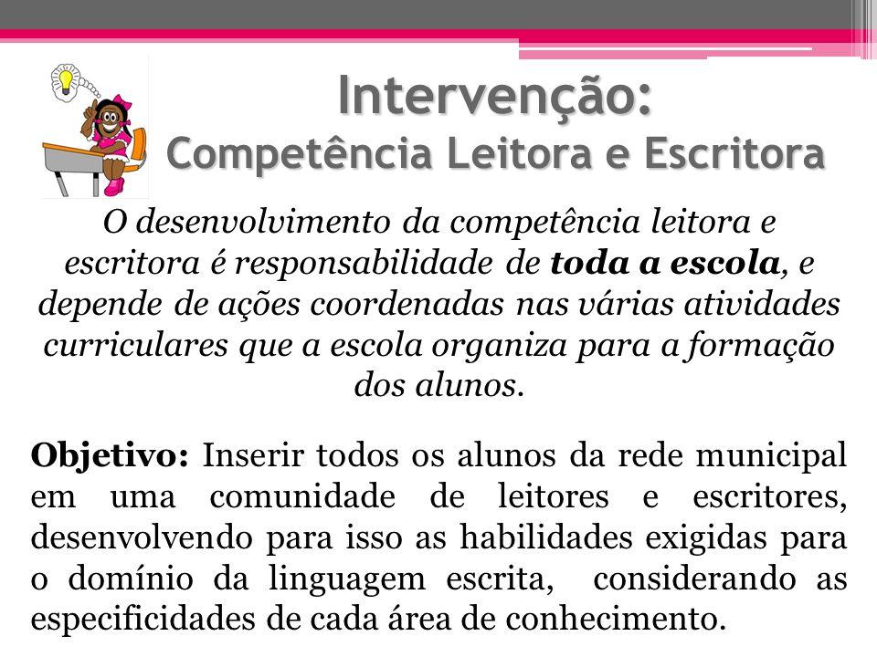 Intervenção: Competência Leitora e Escritora O desenvolvimento da competência leitora e escritora é responsabilidade de toda a escola, e depende de aç