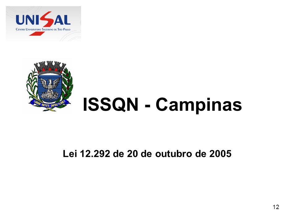 12 ISSQN - Campinas Lei 12.292 de 20 de outubro de 2005