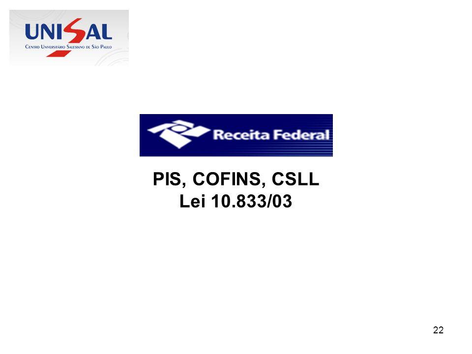 22 PIS, COFINS, CSLL Lei 10.833/03