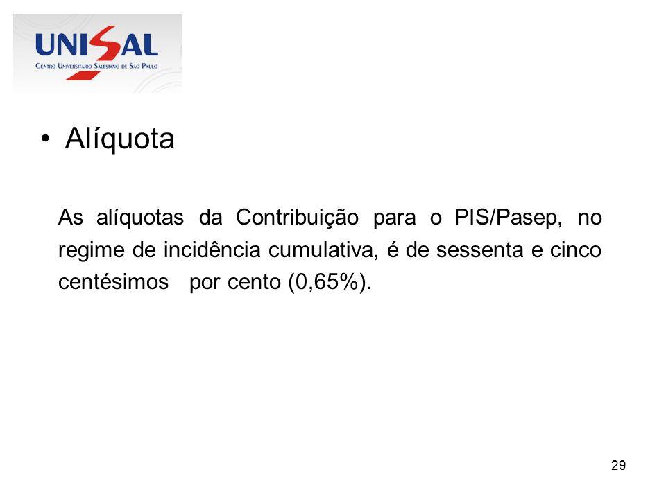 29 Alíquota As alíquotas da Contribuição para o PIS/Pasep, no regime de incidência cumulativa, é de sessenta e cinco centésimos por cento (0,65%).