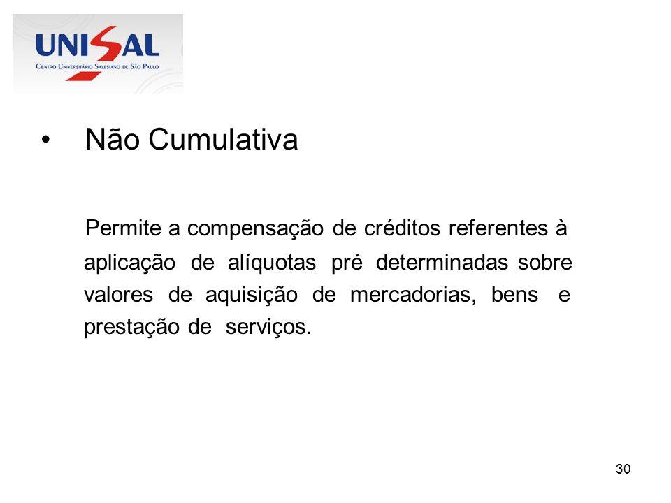 30 Não Cumulativa Permite a compensação de créditos referentes à aplicação de alíquotas pré determinadas sobre valores de aquisição de mercadorias, be