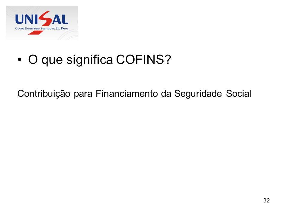 32 O que significa COFINS? Contribuição para Financiamento da Seguridade Social