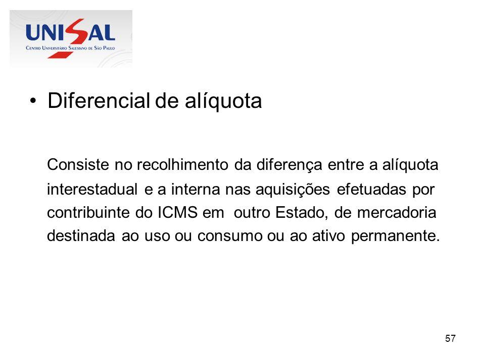 57 Diferencial de alíquota Consiste no recolhimento da diferença entre a alíquota interestadual e a interna nas aquisições efetuadas por contribuinte