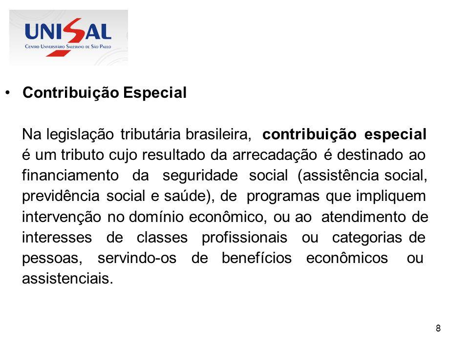 9 Contribuição de melhoria Na legislação tributária brasileira, contribuição de melhoria é um tributo cuja obrigação tem por fato gerador uma situação que representa um benefício especial auferido pelo contribuinte.