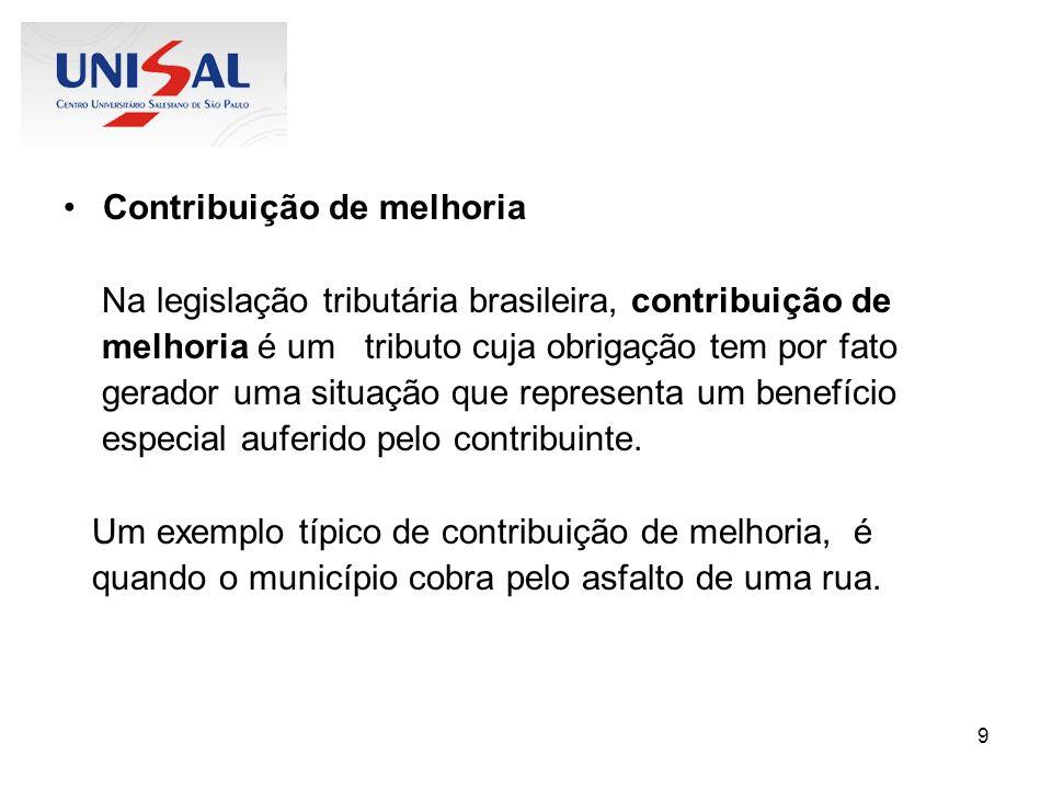 9 Contribuição de melhoria Na legislação tributária brasileira, contribuição de melhoria é um tributo cuja obrigação tem por fato gerador uma situação
