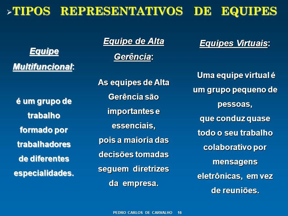TIPOS REPRESENTATIVOS DE EQUIPES Equipe Multifuncional Equipe Multifuncional: é um grupo de trabalho formado por trabalhadores de diferentes especiali
