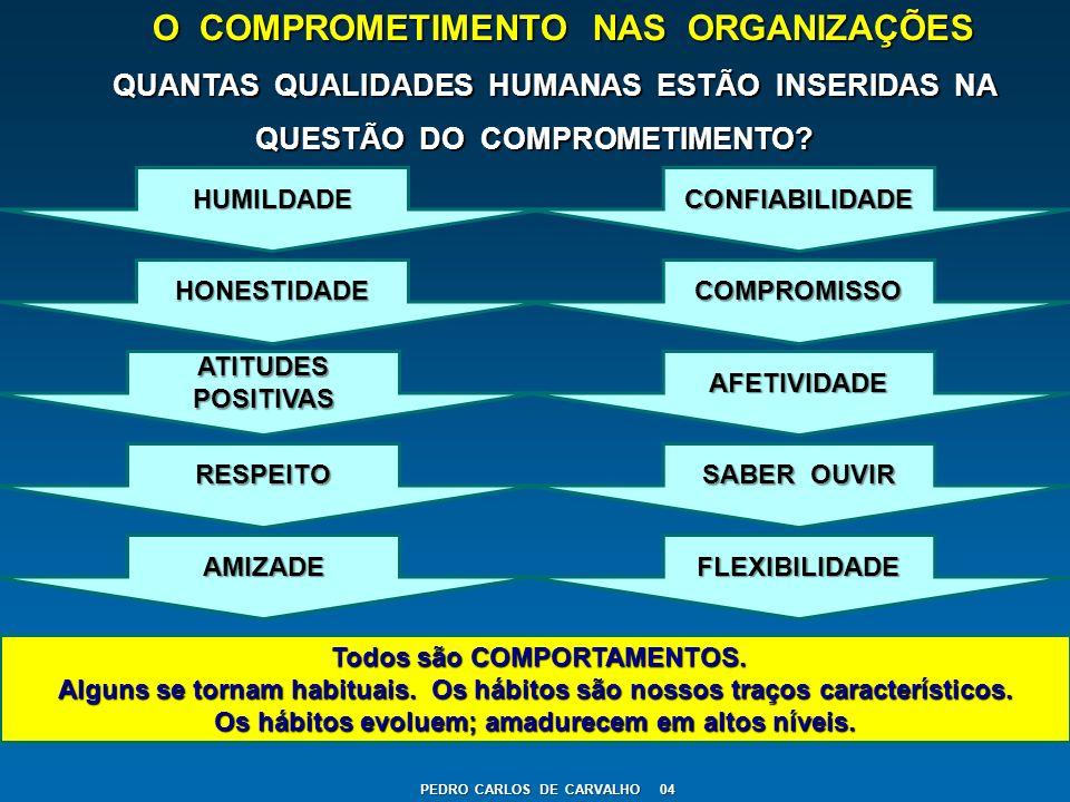 O COMPROMETIMENTO NAS ORGANIZAÇÕES QUANTAS QUALIDADES HUMANAS ESTÃO INSERIDAS NA QUESTÃO DO COMPROMETIMENTO? QUANTAS QUALIDADES HUMANAS ESTÃO INSERIDA