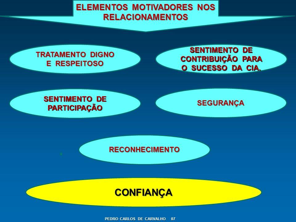 PEDRO CARLOS DE CARVALHO 07 ELEMENTOS MOTIVADORES NOS RELACIONAMENTOS TRATAMENTO DIGNO E RESPEITOSO SENTIMENTO DE CONTRIBUIÇÃO PARA O SUCESSO DA CIA.