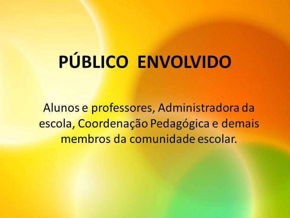 PÚBLICO ENVOLVIDO Alunos e professores, Administradora da escola, Coordenação Pedagógica e demais membros da comunidade escolar.