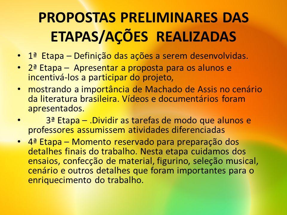 PERÍODO DE REALIZAÇÃO O projeto foi desenvolvido no decorrer do 3º bimestre, período em que se comemorava o Centenário de Machado de Assis.