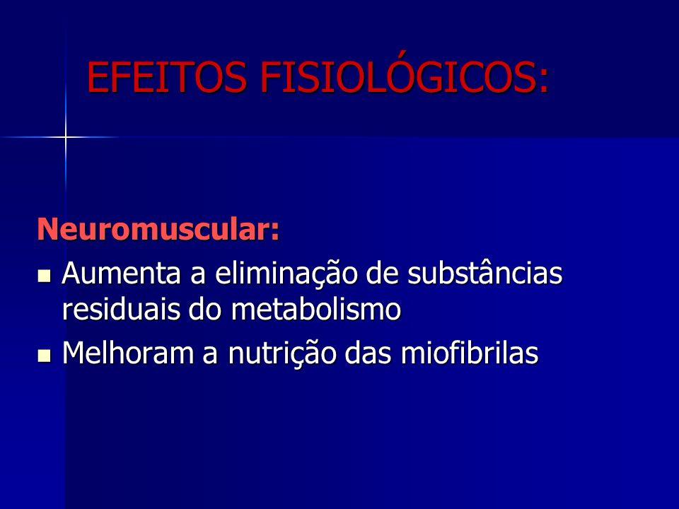 Neuromuscular: Aumenta a eliminação de substâncias residuais do metabolismo Aumenta a eliminação de substâncias residuais do metabolismo Melhoram a nutrição das miofibrilas Melhoram a nutrição das miofibrilas EFEITOS FISIOLÓGICOS: