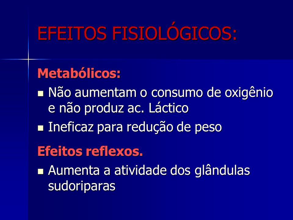 Metabólicos: Não aumentam o consumo de oxigênio e não produz ac.