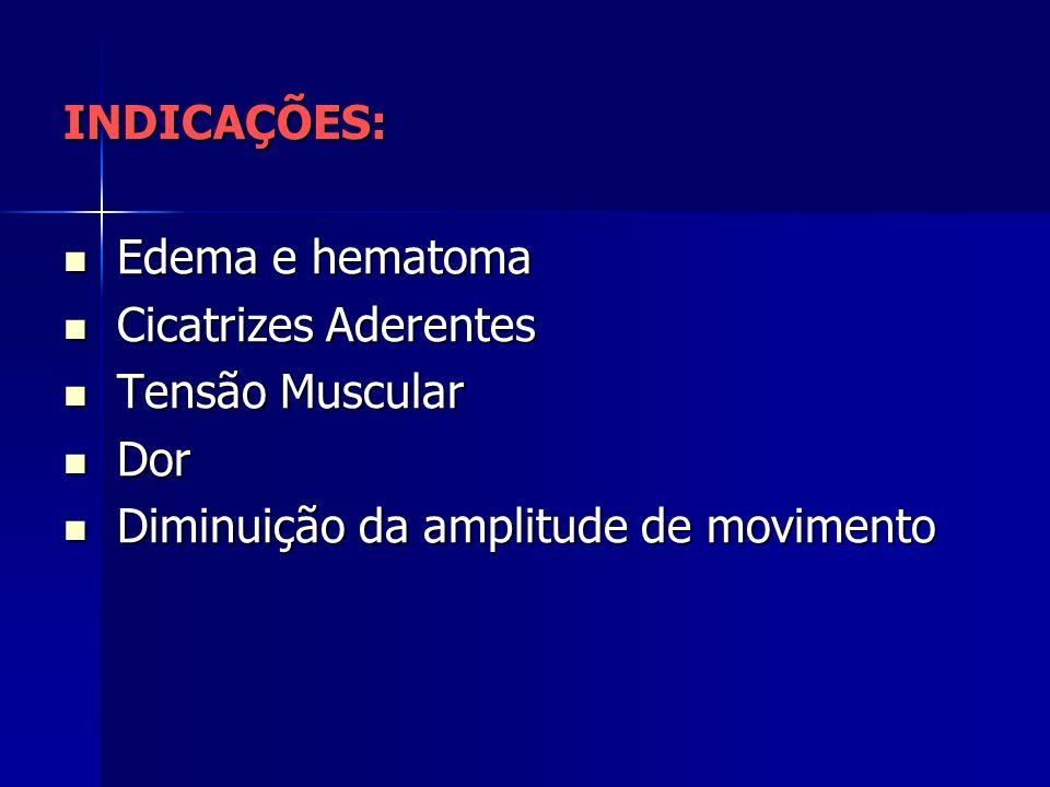 INDICAÇÕES: Edema e hematoma Edema e hematoma Cicatrizes Aderentes Cicatrizes Aderentes Tensão Muscular Tensão Muscular Dor Dor Diminuição da amplitude de movimento Diminuição da amplitude de movimento