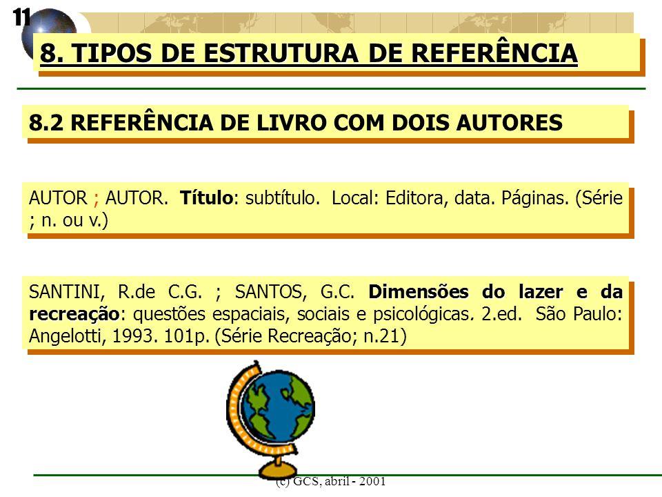 (c) GCS, abril - 2001 8. TIPOS DE ESTRUTURA DE REFERÊNCIA 8.2 REFERÊNCIA DE LIVRO COM DOIS AUTORES AUTOR ; AUTOR. Título: subtítulo. Local: Editora, d