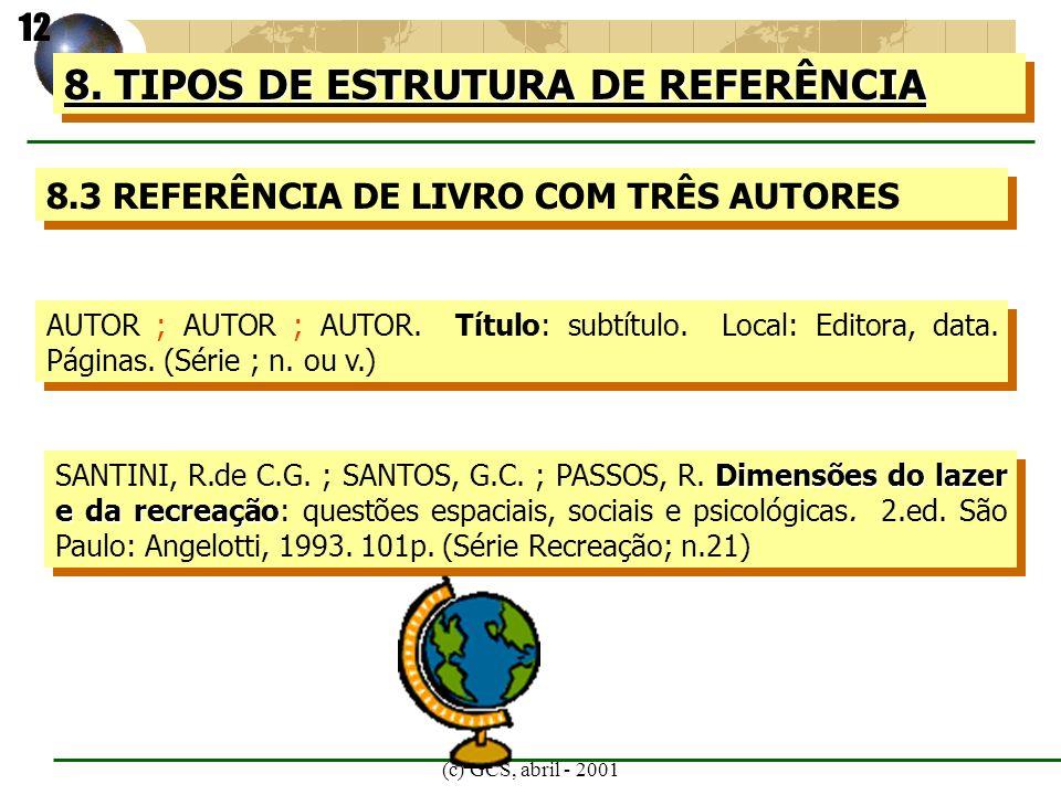 (c) GCS, abril - 2001 8. TIPOS DE ESTRUTURA DE REFERÊNCIA 8.3 REFERÊNCIA DE LIVRO COM TRÊS AUTORES AUTOR ; AUTOR ; AUTOR. Título: subtítulo. Local: Ed